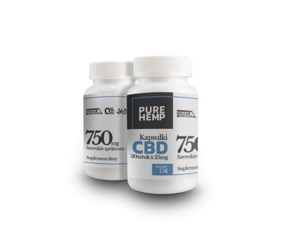 Kapsułki CBD Broad Spectrum 0% THC 750 miligramów kannabidiolu 30 sztuk razy 25 mg w kapsułce