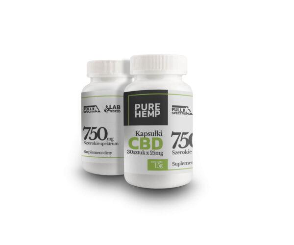 Kapsułki CBD kapsułki konopne 25 mg CBD - 30 sztuk - Kapsułki CBD 750 Full Spectrum