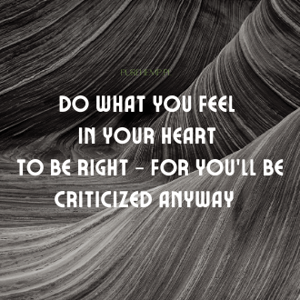 do what you feel in your heart to be right - for you will be criticized anyway - pure hemp